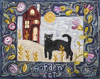 Rug Hooking Pattern: Garden Cat