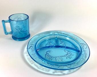 Blue Tiara Glass Nursery Rhyme Children's Dinner Set, 1970s- 1980s