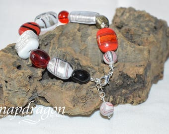 Red, black, white and silver glass bead bracelet