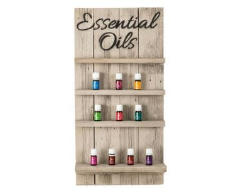 Essential Oils Wall Hanging Display Shelves with Script - Whitewash