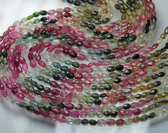 14 Inch strand Super-FINEST,Multi Tourmaline Faceted Oval Shaped Beads,6-7mm