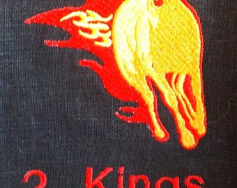 Horses of Fire 2 Kings 2:11 Midnight Black 100% Linen Caftan Tunic with Fire Horse Embroidery, Red Ribbon Trim and Decorative Stitching