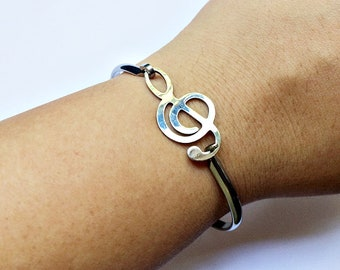 Treble G Clef Bangle Bracelet: musical symbol charm in silver stainless steel