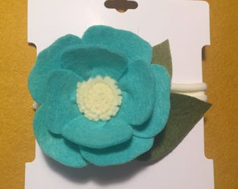 Teal Felt Flower Headband