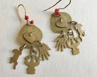 vintage brass boho earrings