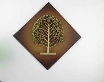 3-D Tree With Green Leaves on Board - Fibreboard Backed - Diamond Shape Wall Hanging - Tree in Three Dimensions - Raised - 'Syroco' Art