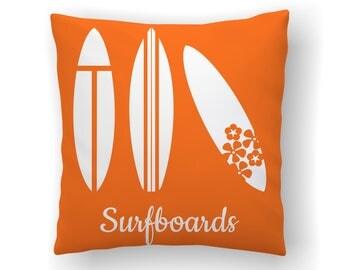 Surf Pillow, Surfing Decor, Surfboard Decor, Beach Nursery, Kids Pillows, Surfer Baby Throw Pillow Covers, Ocean Themed Decor, Surfer Girl