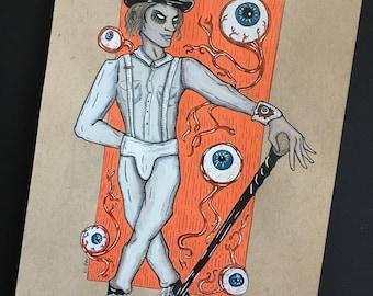 Alex Delarge Original Ink Drawing on Toned Paper