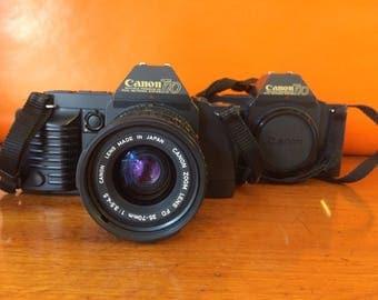 Canon T70, vintage SLR camera, 2 bodies, 4 lenses and accessoires