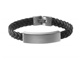 Chain bracelet engraved braided black leather and steel clasp 19-21 cm