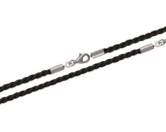 Twisted black cord necklace and silver clasp 925/000 to add a pendant