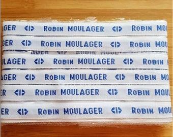 Lot labels name woven custom fusible background white blue text