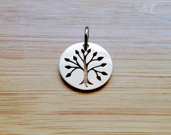 Tree of life 16 mm steel stainless round Medal