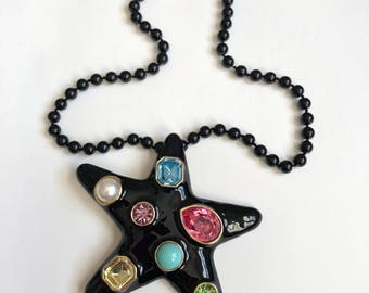 Starfish Black Enamel Knotted Beaded Necklace Brooch