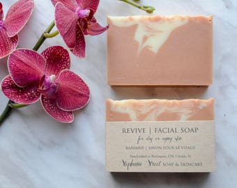 Revive Facial Soap for dry or aging skin, All-Natural Cold Process, with Rosehip, Clay and Shea Butter