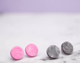 Pink||Grey Marbled Grey or Pink Stud Earrings // stainless steel posts // hypoallergenic // butterfly backs // statement earrings