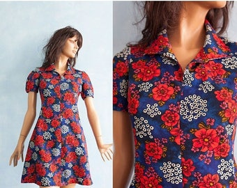 ON SALE 15% 60s woman vintage Mod Blue Red floral 60s short sleeve dress / Vibrant colorful dress / Psychedelic extra mini dress/ S