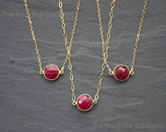 SALE / Gold Ruby Necklace / Gold Ruby Pendant / Gold Ruby Jewelry / Ruby Pendant / Gold Ruby Jewelry / Mother's Day Gift / Gift for Mom