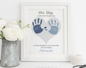 Gift for Teacher Nanny Daycare Babysitter, Handprint Heart Personalized Thank you Gift Art Print, Your Child's Hands, 8x10 or 11x14 UNFRAMED