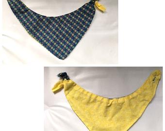 0-6M Baby Reversible Bandana Bib Blue/Yellow
