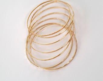 Gold Stack Bracelet set of 3 bracelets Hammered Gold Bangle Stacking Bangle - Delicate Gold Hammered Bangles -  Mother's Day Gift For Her