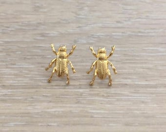 Bug Earring, Gold Studs, Animal Earring, Post Earring, Studs