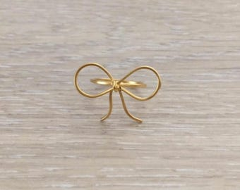Gold Ribbon Ring, Bow Ring, Gold Ring, Statement Ring