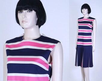 Vintage 1960s Women's Drop Waist Dress - Pink and Navy Stripes - Size 14 - Summer Dress - Secretary Dress