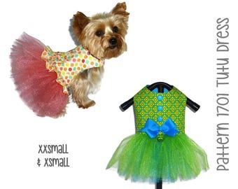 Tutu Dog Dress Pattern 1701 * XXSmall & XSmall * Dog Clothes Pattern * Dog Harness Dress * Dog Apparel * Dog Outfit * Girl Dog Clothes