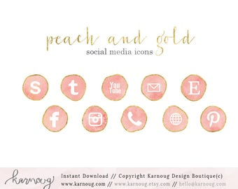 Pink Peach Social Media Icons, Clip Art, Downloadable Clip Art, Social Media Icons, Peach Social Media, Feminine Icons, Web Buttons