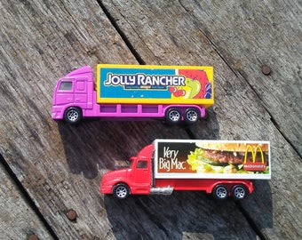 Vintage Hot Wheels Haulers McDonald's Delivery Truck Jolly Rancher Truck 1996 Mattel Inc Play Trucks Toy 18 Wheeler Trucks Vintage Toy Cars