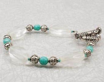 Turquoise and Clear Nugget Bracelet / Clear Bracelet / Turquoise Bracelet