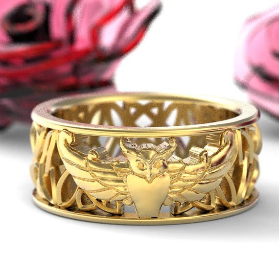 Gold Owl Wedding Band, Celtic Owl Ring, Owl Gifts, Owl Jewelry, Celtic Knot Ring, 10K 14K 18K Gold, Palladium or Platinum Custom Size 1190