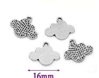 Set of 10 silver clouds, 1.6 cm charms