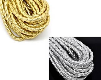 100 cm plaited cord, silver or gold, faux leather, 5mm in diameter