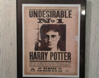 Framed Harry Potter Undesirable No 1 Framed Print Wanted Poster Daily Prophet Hogwarts Wall Art Decor Ministry of Magic Wanted Poster