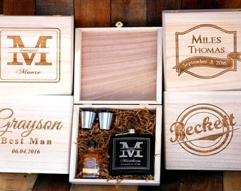 Groomsmen Flask Set, Personalized Flask Groomsmen Gift Box, Gifts for Groomsmen, Engraved Flask, Custom Flask Set for Groomsmen