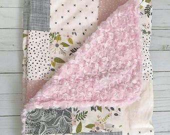 Sale • FLORAL PATCHWORK BLANKET • Girl's Baby Blanket • Flower • Damask • Pink White Gray Green • Faux Fur • Baby Shower Gift • BizyBelle