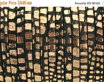 """ON SALE 5MM Flat Leather - Black/Metallic Copper Cancun - 2ft/24"""" - Best Quality Leather Cord"""