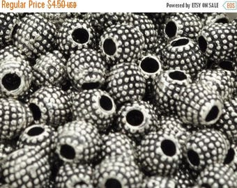 30% OFF 7MM Beaded Spacer - Hole 2MM - Antique Silver - Qty. 10