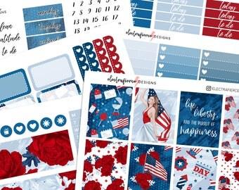 SALE - Fourth of July - Planner Sticker kit for Erin Condren   floral america flag independence day