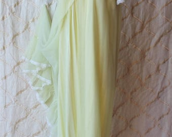 Sexy Summer Sale 1950's Soft Canary Yellow Long Lingerie  Night Gown &  Robe Peignoir Set  by TER-SHE  Medium