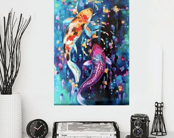 Abstract canvas art-Koi fish paintings-oil on canvas-koifish art,koi fish wall art-oil painting- painting on canvas-office art-etsy wall art