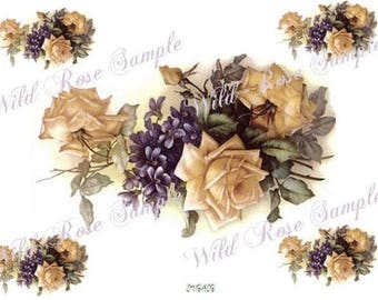 VinTaGe XL YeLLoW RoSeS & VioLeTs SHaBbY DeCALS ~FurNiTuRe SiZe~