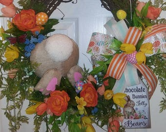 Bunny Easter Floral Wreath