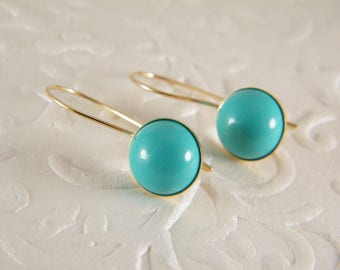 Turquoise gold earrings, Dangle earrings, Blue gold earrings, Gold filled earrings, Gift for her, Turquoise jewelry, Leasebacks earrings