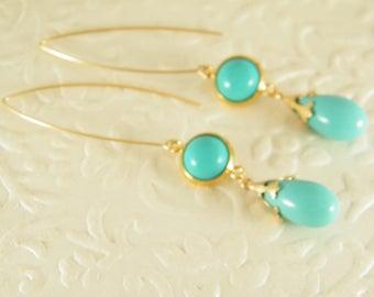 Turquoise gold earrings, Dangle earrings, Blue gold earrings, Gold filled earrings, Gift for her, Turquoise jewelry, Long tear drop earrings