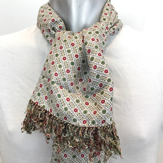 Vintage gentlemans Scarf spotted cream burgundy green spotty long oblong tassel hem Mod silk cravat Goodwood scooter