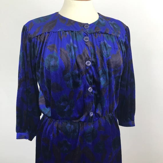 Vintage shirt dress velour floral blue velvet blouson balloon sleeves tea UK 14 midi mom dress sexy secretary granny chic