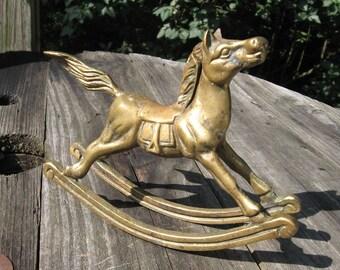 brass rocking horse vintage figurine figure metal nursery decor pony